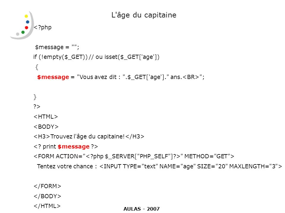 L âge du capitaine < php $message = ;
