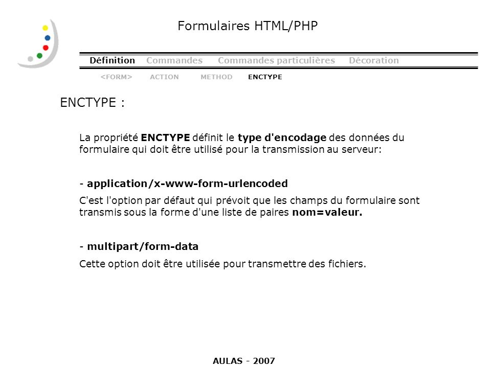 Formulaires HTML/PHP ENCTYPE :