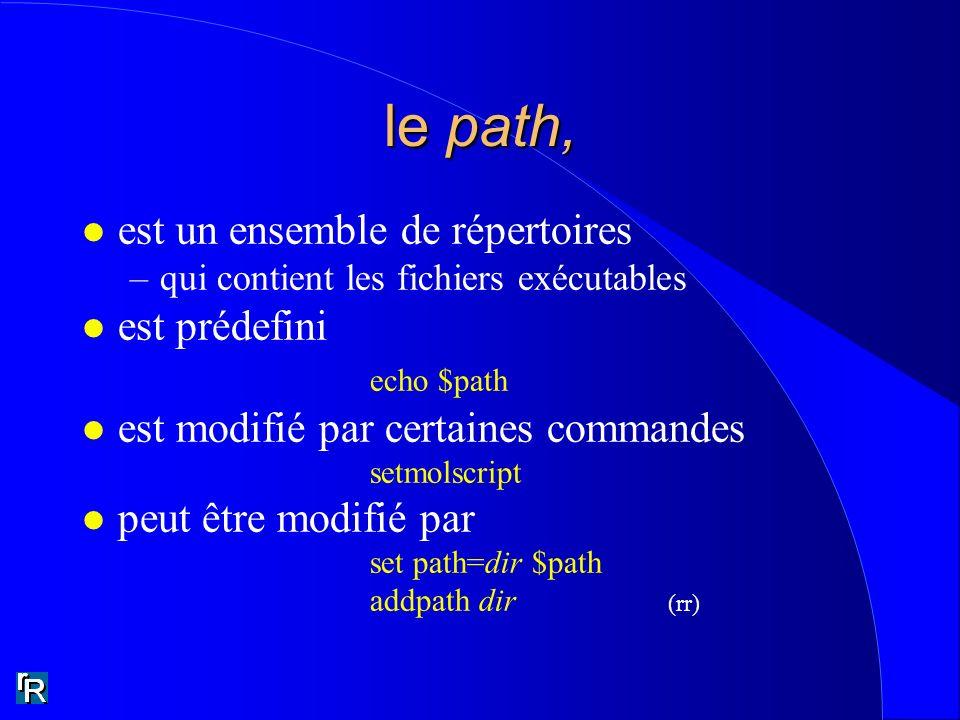 le path, est un ensemble de répertoires est prédefini echo $path