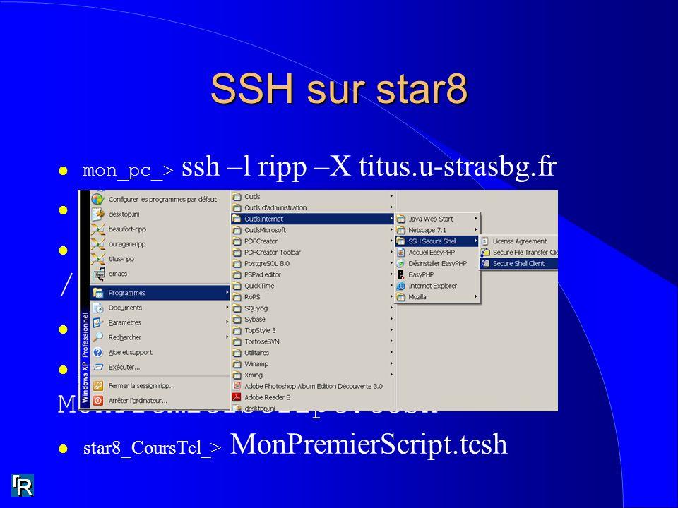 SSH sur star8 /groupes/poch/ripp MonPremierScript.tcsh