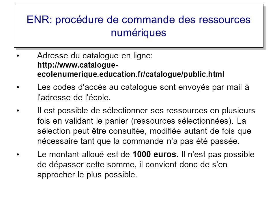 ENR: procédure de commande des ressources numériques