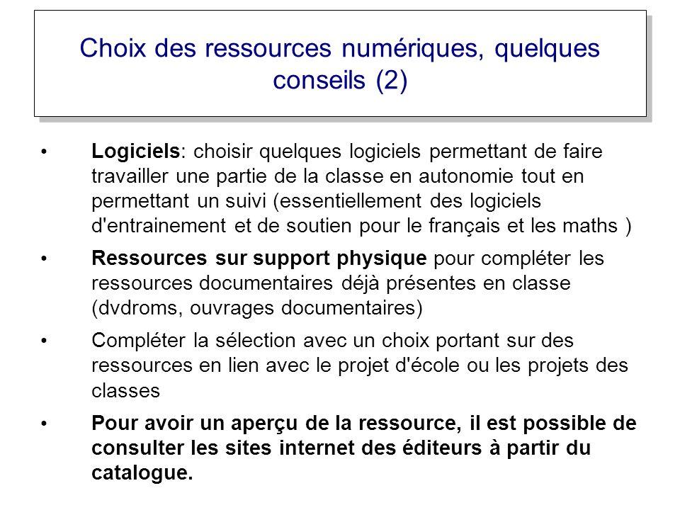Choix des ressources numériques, quelques conseils (2)