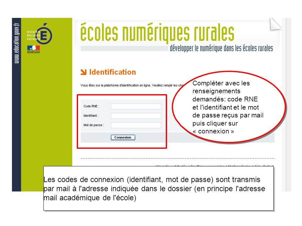 Compléter avec les renseignements demandés: code RNE et l identifiant et le mot de passe reçus par mail puis cliquer sur « connexion »
