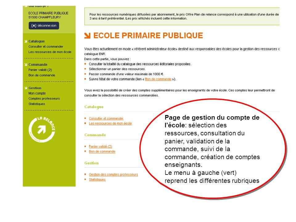 Page de gestion du compte de l école: sélection des ressources, consultation du panier, validation de la commande, suivi de la commande, création de comptes enseignants.