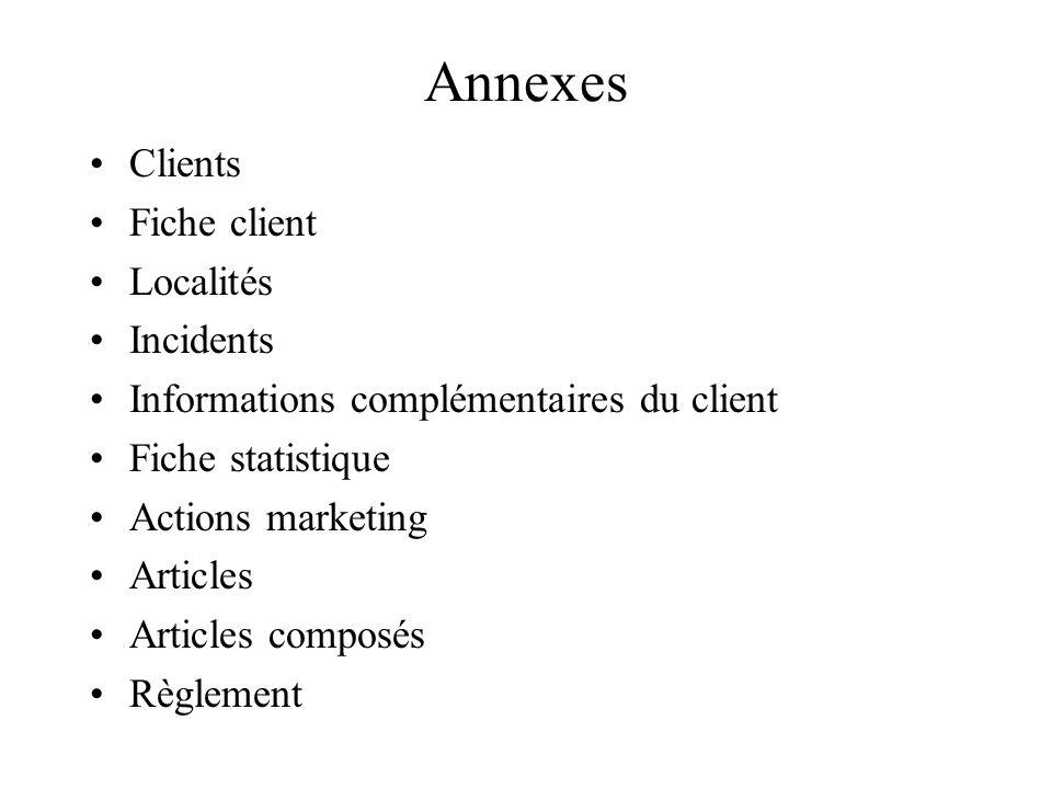 Annexes Clients Fiche client Localités Incidents