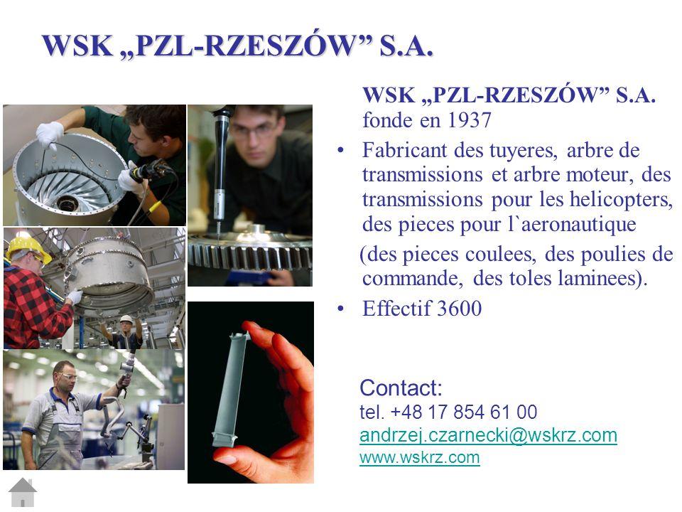 "WSK ""PZL-RZESZÓW S.A. WSK ""PZL-RZESZÓW S.A. fonde en 1937"