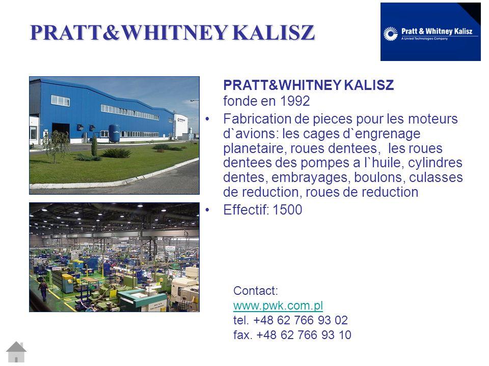 PRATT&WHITNEY KALISZ PRATT&WHITNEY KALISZ fonde en 1992