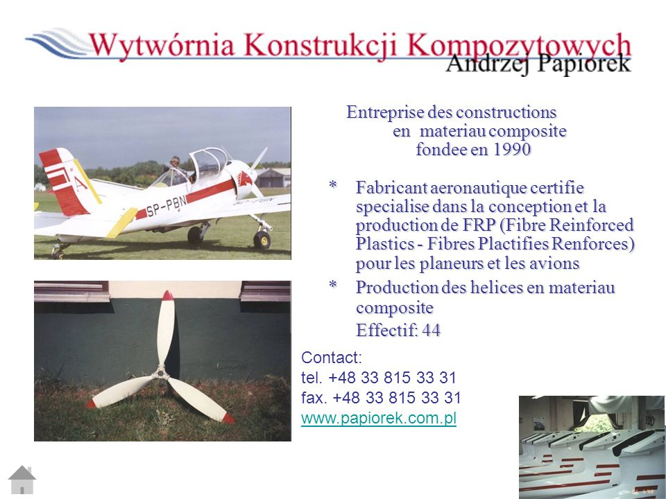 Entreprise des constructions en materiau composite fondee en 1990