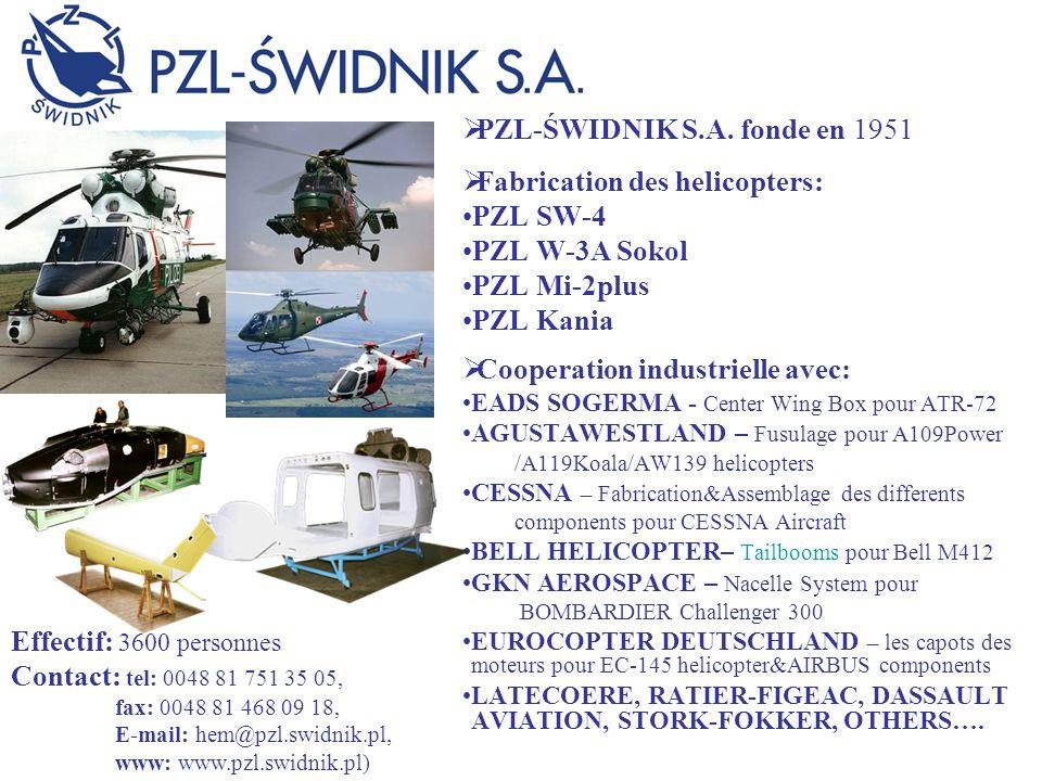 PZL-ŚWIDNIK S.A. fonde en 1951 Fabrication des helicopters: PZL SW-4