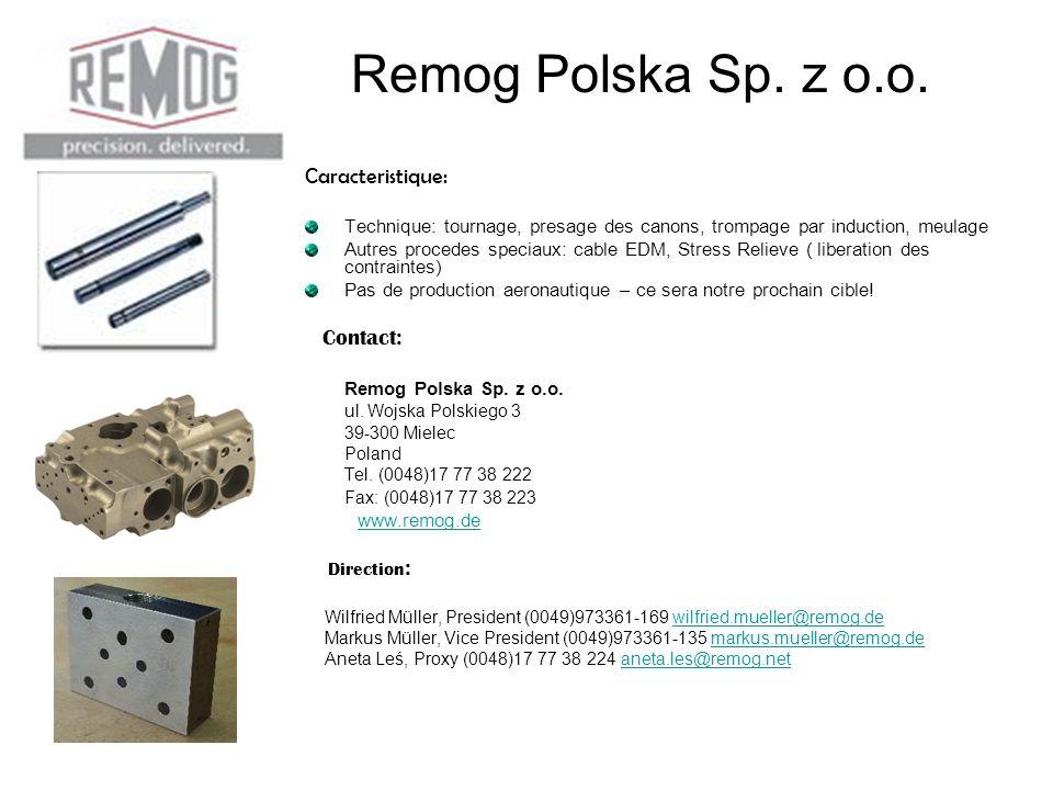 Remog Polska Sp. z o.o. Caracteristique: Contact: