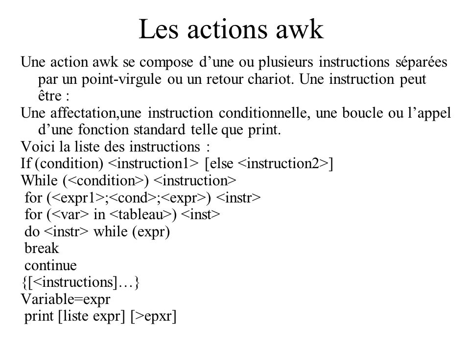 Les actions awk