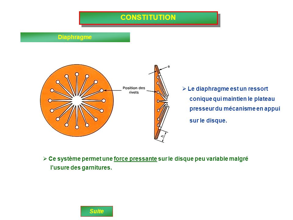 CONSTITUTION Diaphragme Le diaphragme est un ressort
