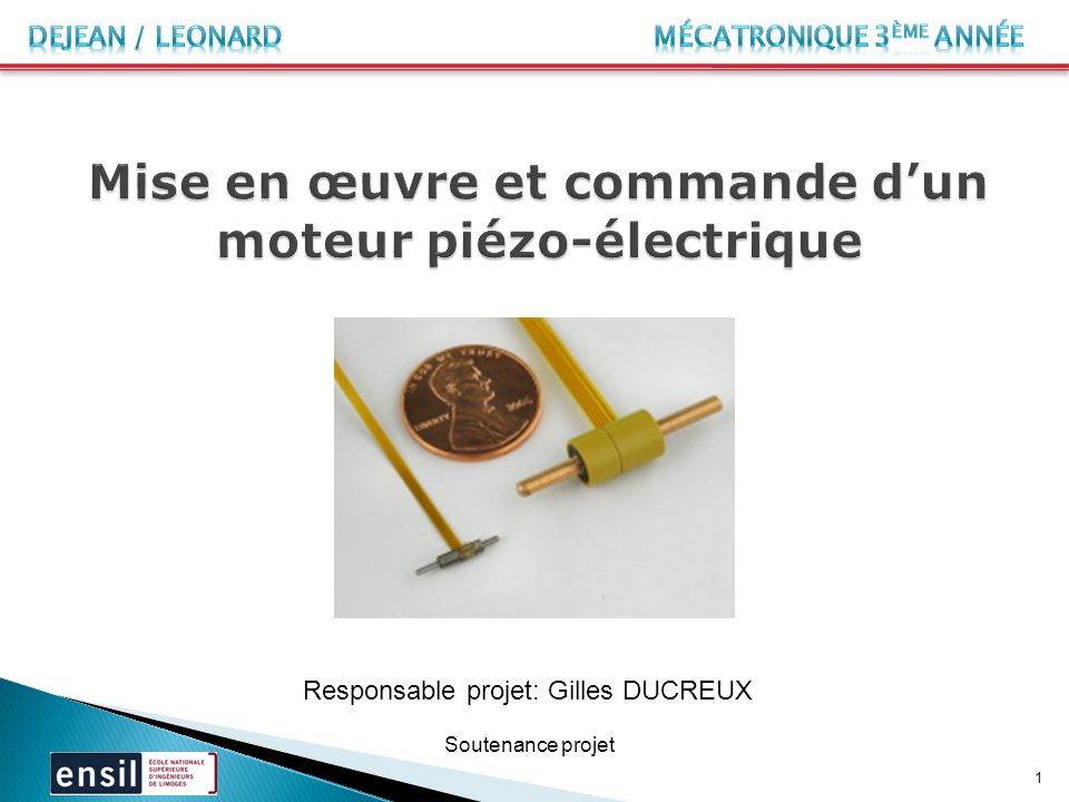 Mise en œuvre et commande d'un moteur piézo-électrique