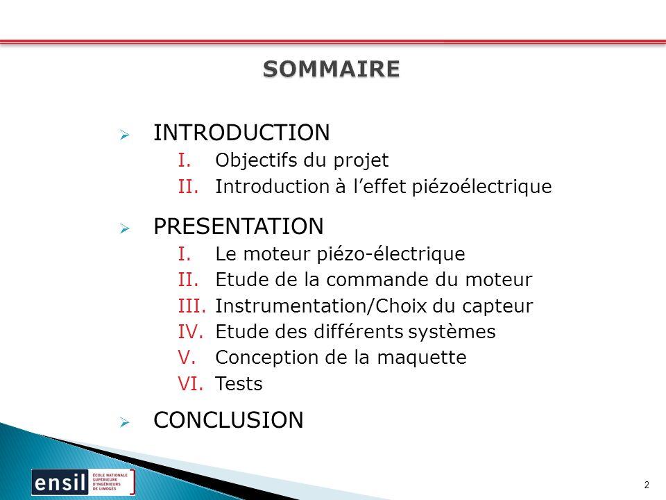 SOMMAIRE INTRODUCTION PRESENTATION CONCLUSION Objectifs du projet