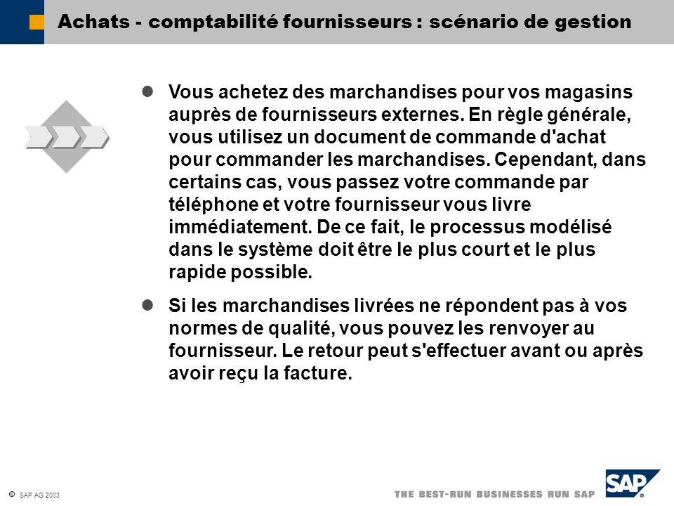Achats - comptabilité fournisseurs : scénario de gestion