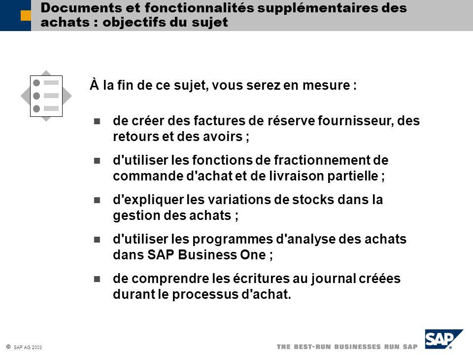 Documents et fonctionnalités supplémentaires des achats : objectifs du sujet