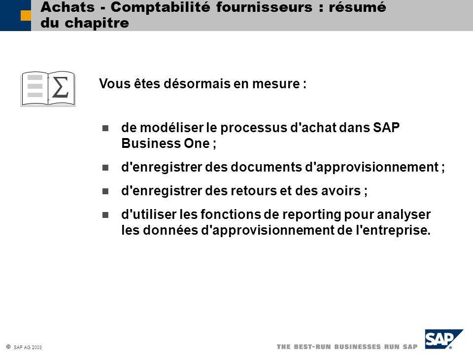 Achats - Comptabilité fournisseurs : résumé du chapitre