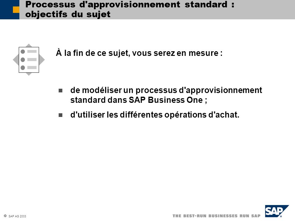 Processus d approvisionnement standard : objectifs du sujet