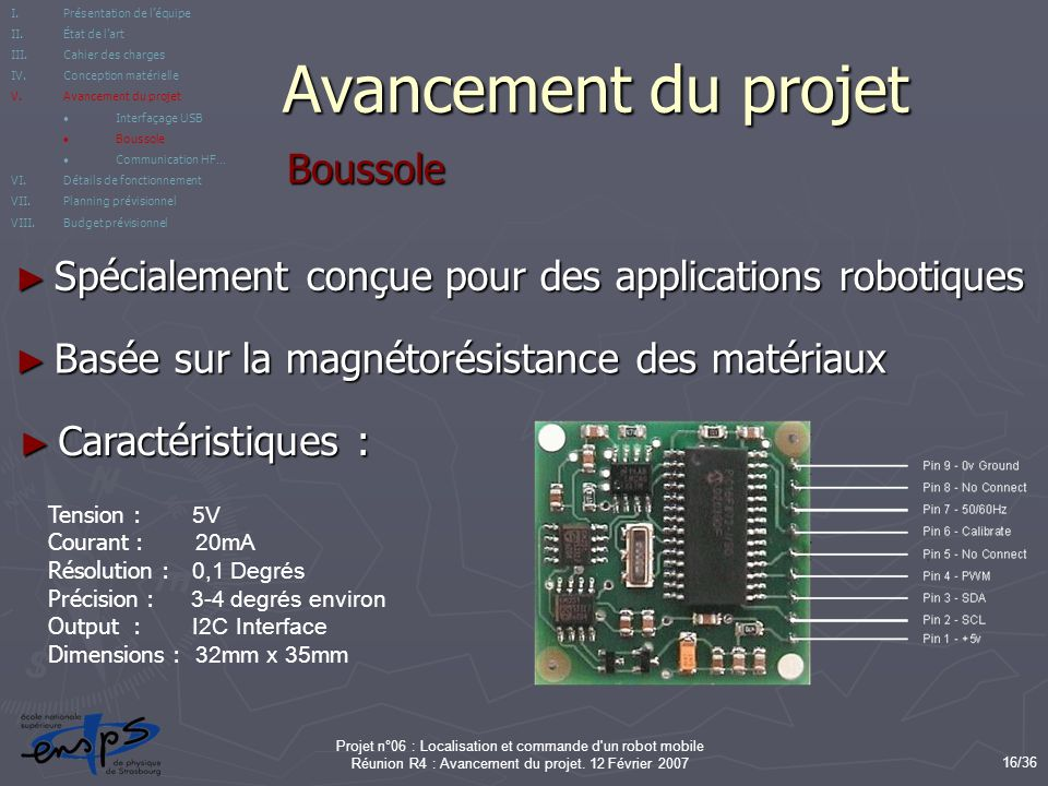 Avancement du projet Boussole