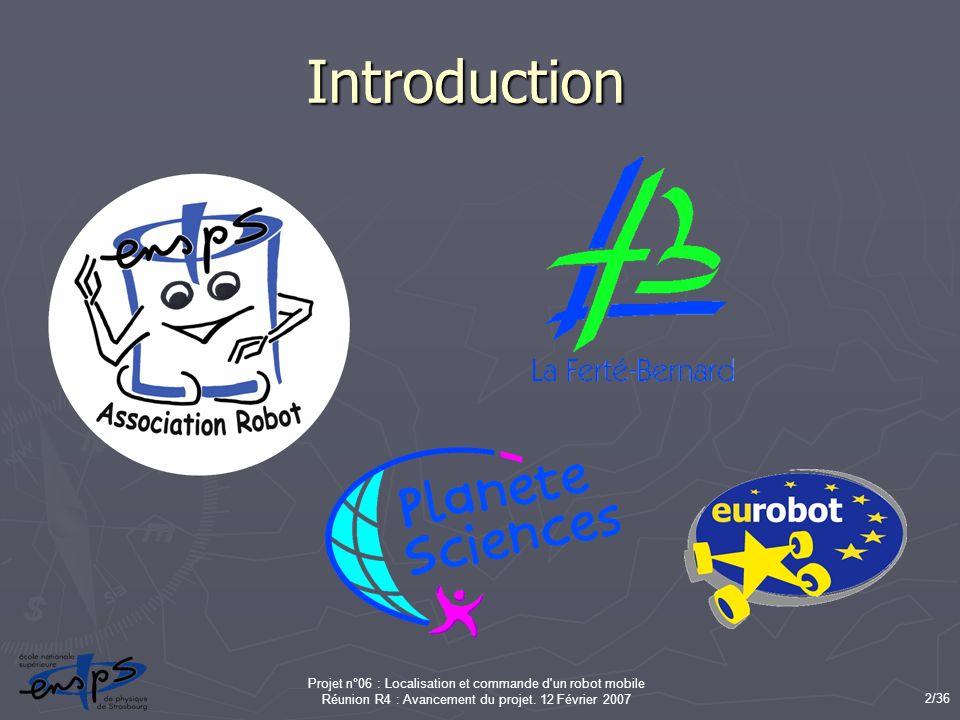 Introduction Projet n°06 : Localisation et commande d un robot mobile Réunion R4 : Avancement du projet.