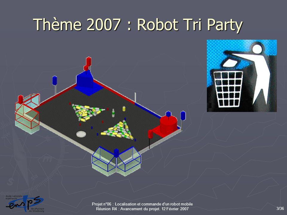 Thème 2007 : Robot Tri Party Projet n°06 : Localisation et commande d un robot mobile Réunion R4 : Avancement du projet.