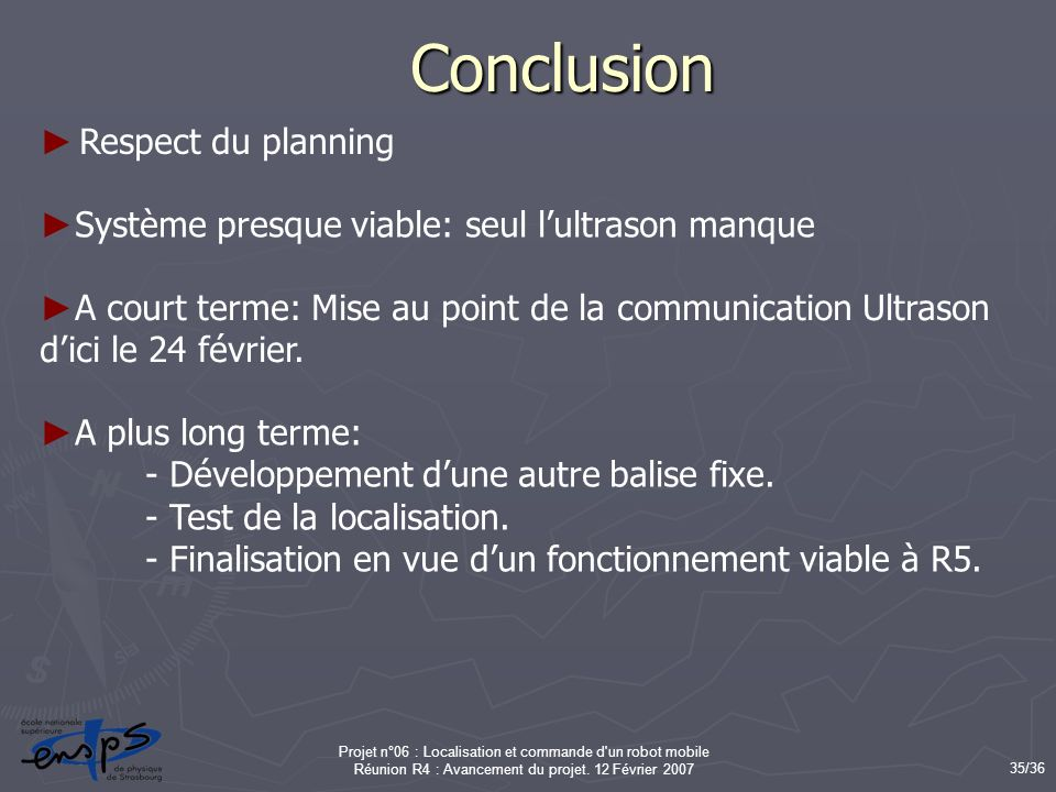 Conclusion Respect du planning