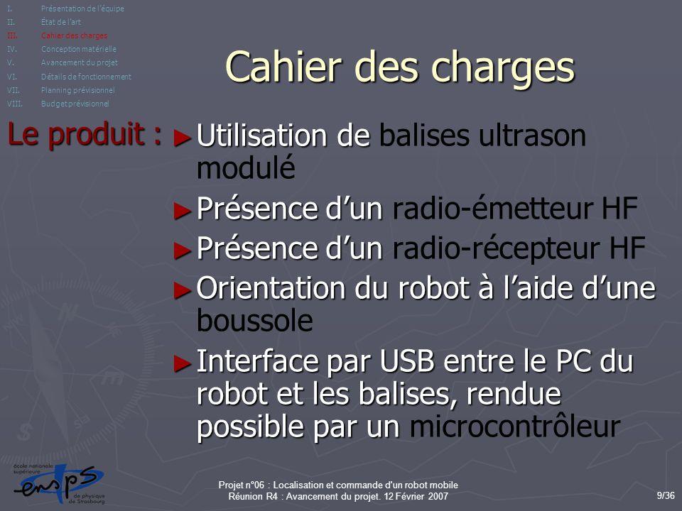 Cahier des charges Le produit : Utilisation de balises ultrason modulé