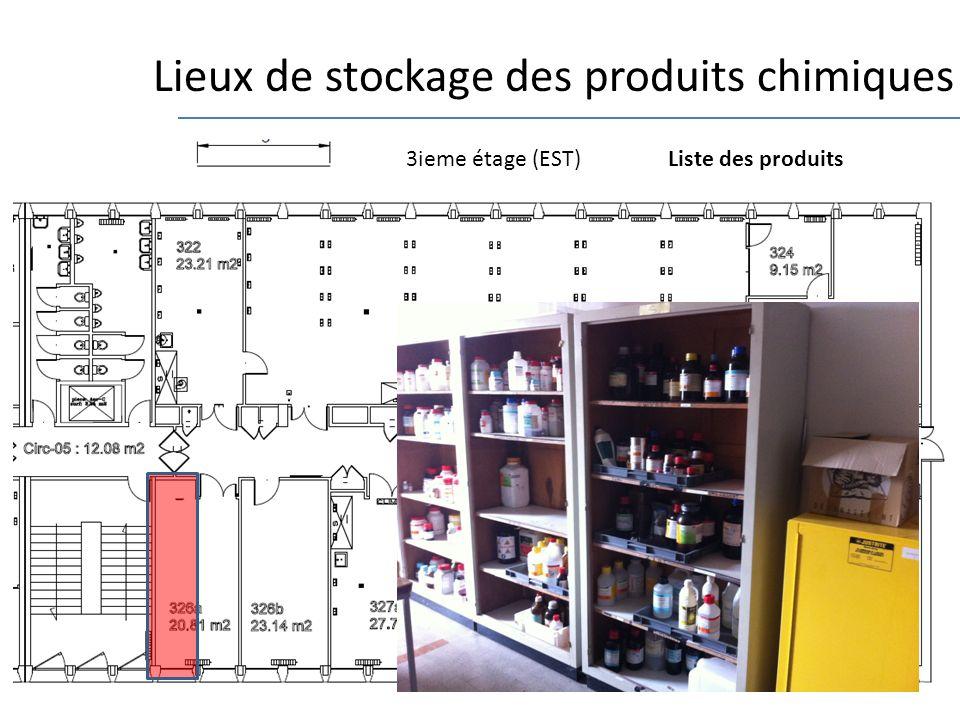 Lieux de stockage des produits chimiques