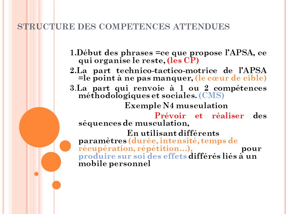 STRUCTURE DES COMPETENCES ATTENDUES