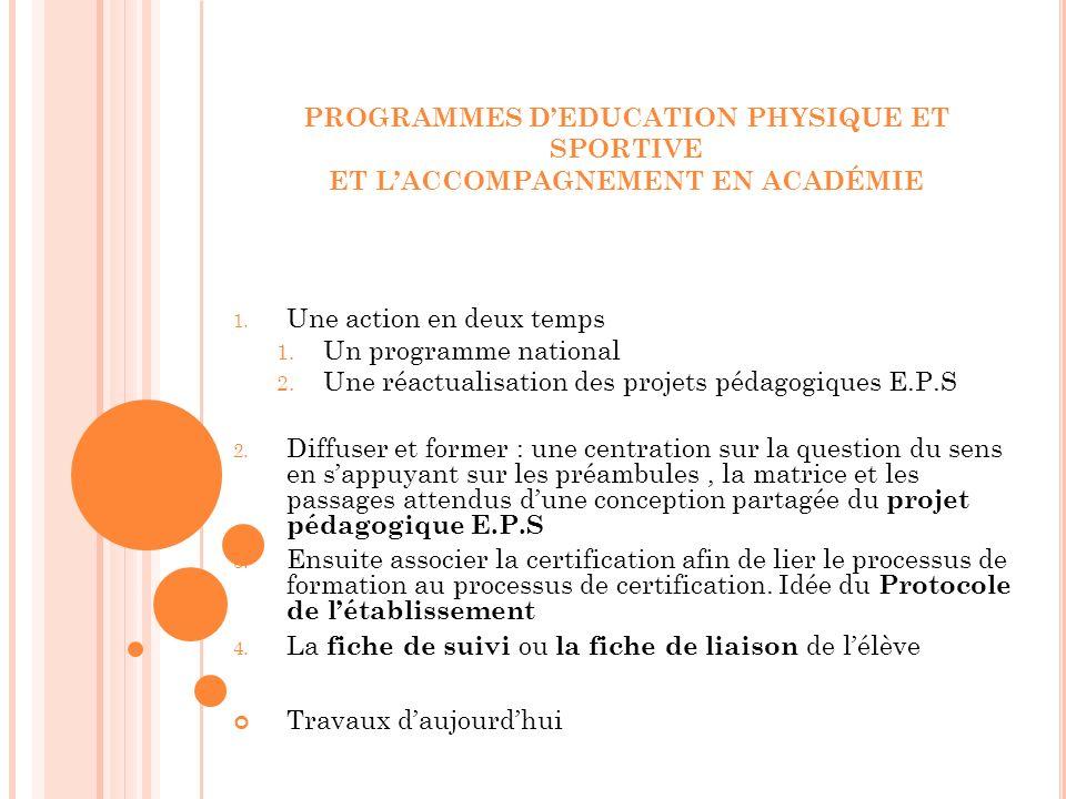 PROGRAMMES D'EDUCATION PHYSIQUE ET SPORTIVE ET L'ACCOMPAGNEMENT EN ACADÉMIE