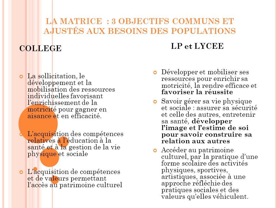 LA MATRICE : 3 OBJECTIFS COMMUNS ET AJUSTÉS AUX BESOINS DES POPULATIONS