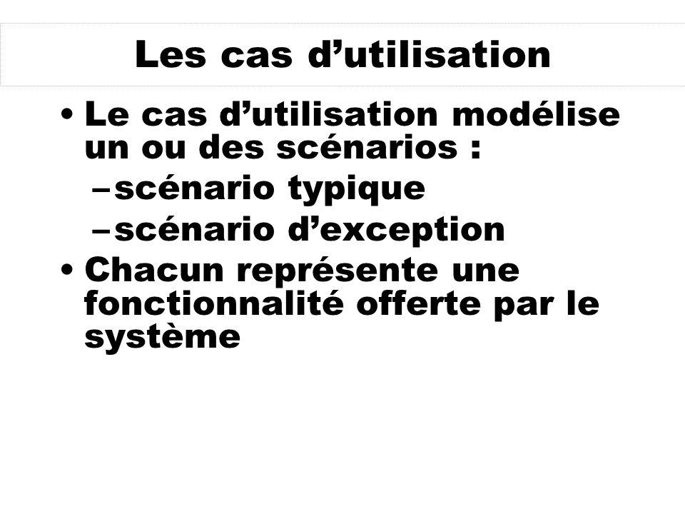 Les cas d'utilisation Le cas d'utilisation modélise un ou des scénarios : scénario typique. scénario d'exception.