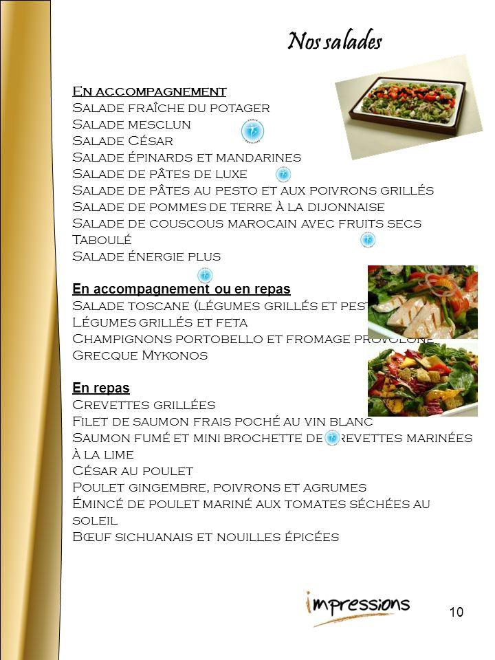 Nos salades En accompagnement Salade fraîche du potager Salade mesclun