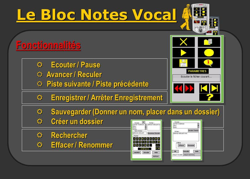 Le Bloc Notes Vocal Fonctionnalités R Ecouter / Pause