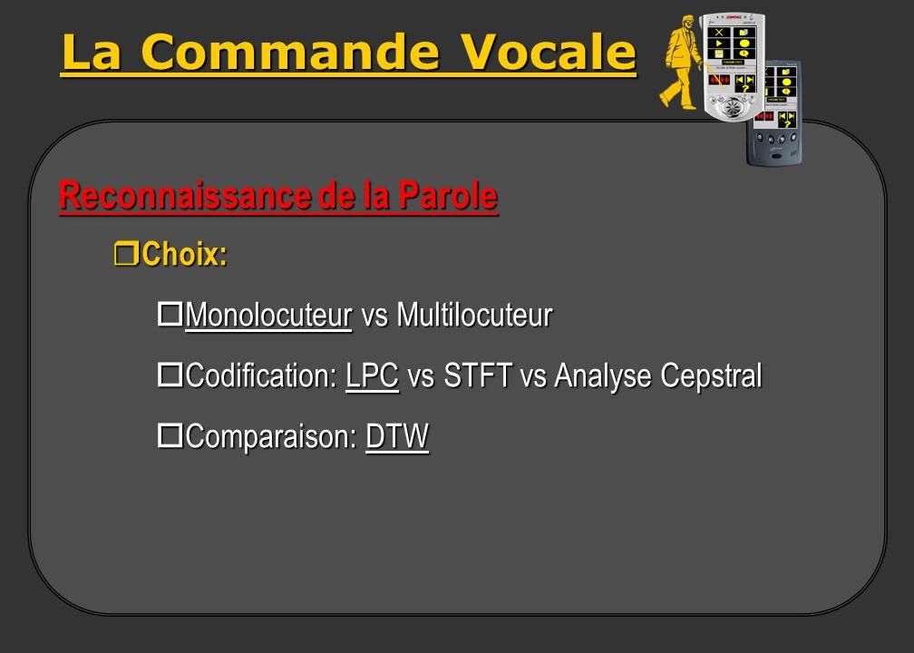 La Commande Vocale Reconnaissance de la Parole Choix:
