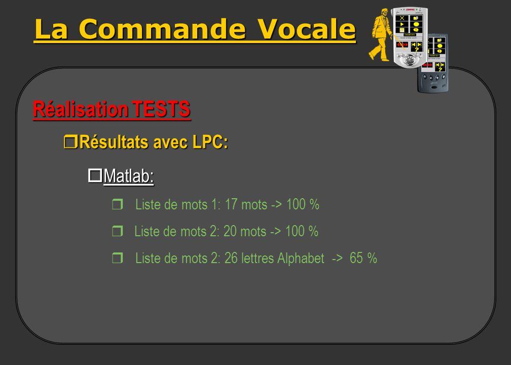 La Commande Vocale Réalisation TESTS Résultats avec LPC: oMatlab:
