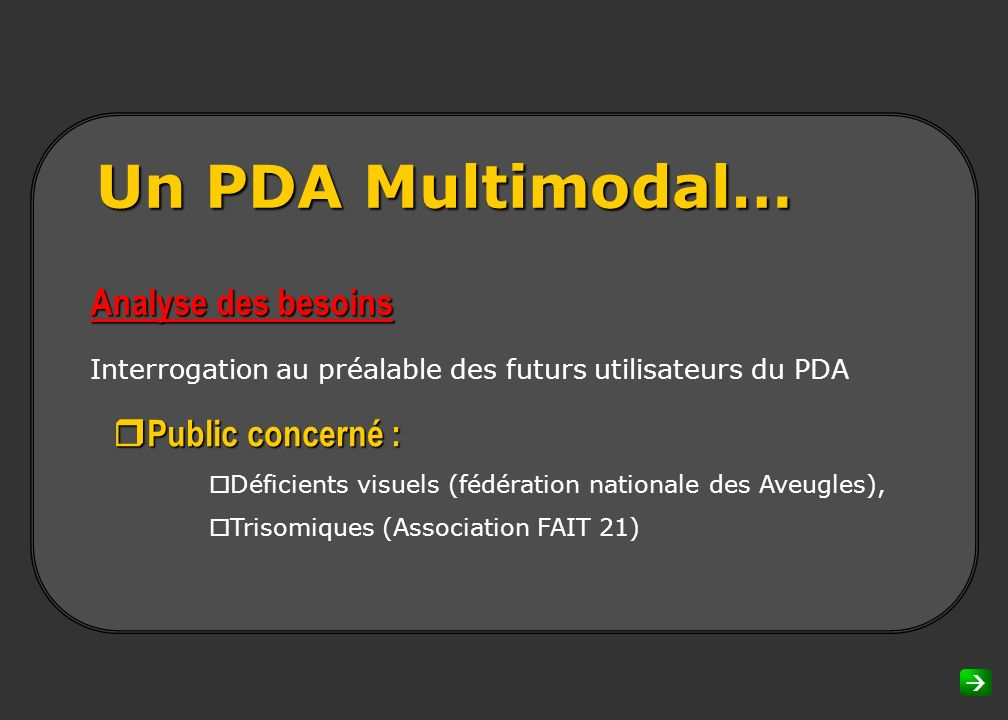 Un PDA Multimodal… Analyse des besoins rPublic concerné :