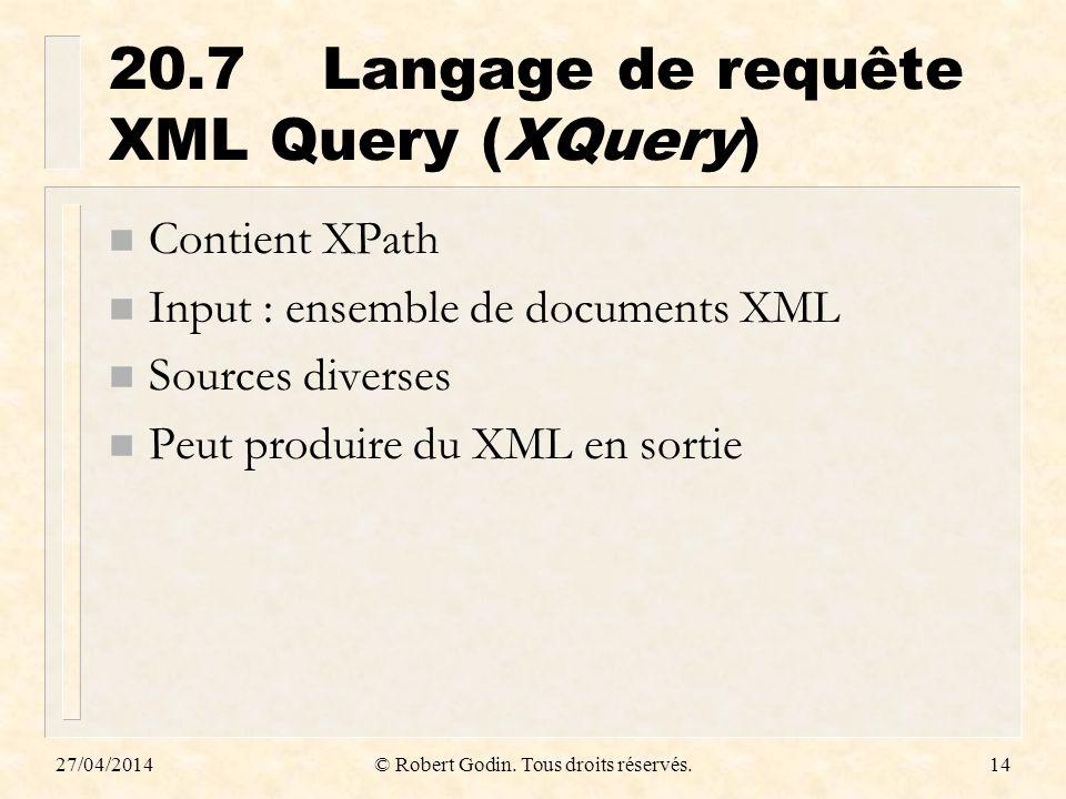 20.7 Langage de requête XML Query (XQuery)
