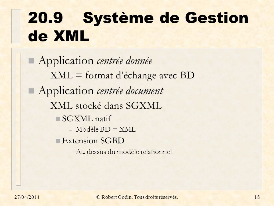 20.9 Système de Gestion de XML