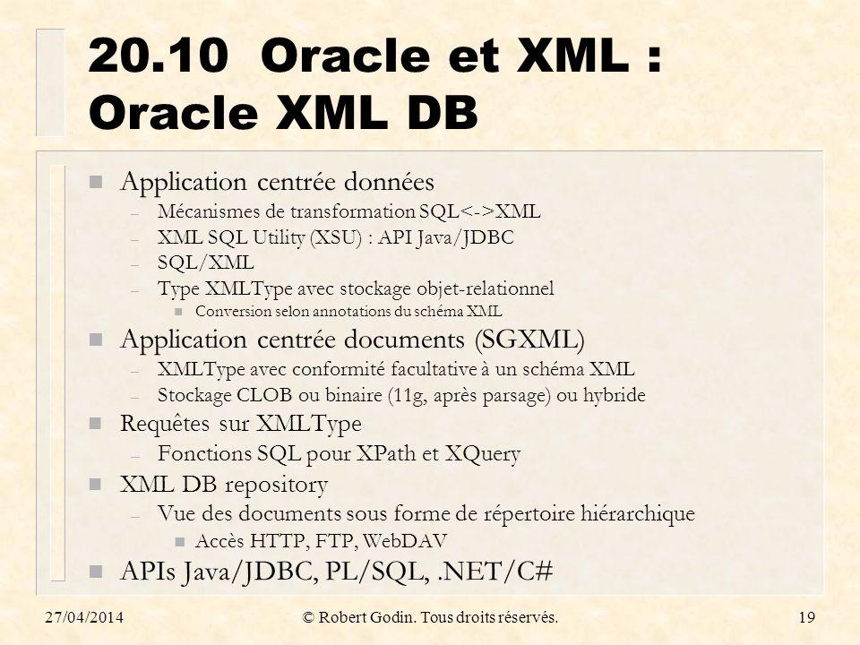 20.10 Oracle et XML : Oracle XML DB