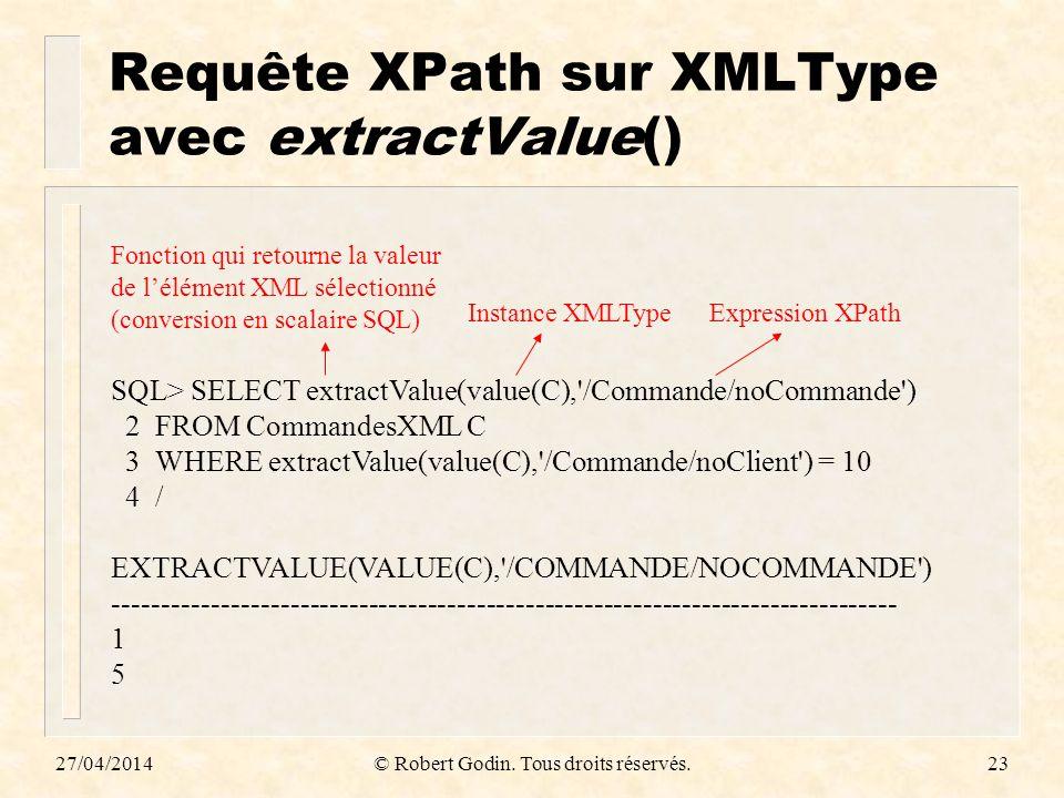 Requête XPath sur XMLType avec extractValue()