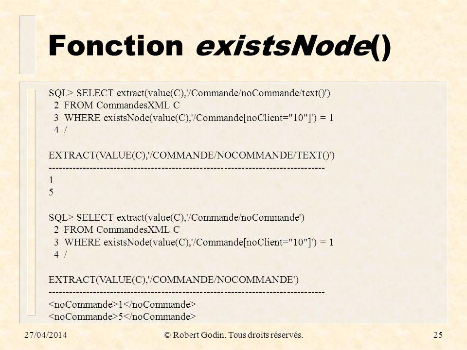 Fonction existsNode()