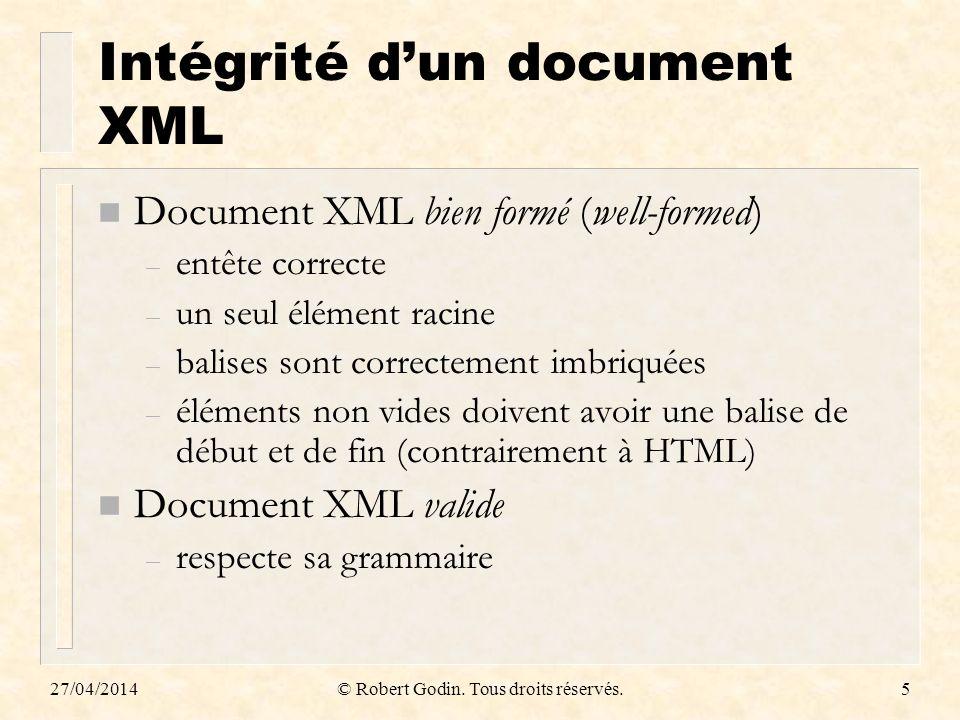 Intégrité d'un document XML