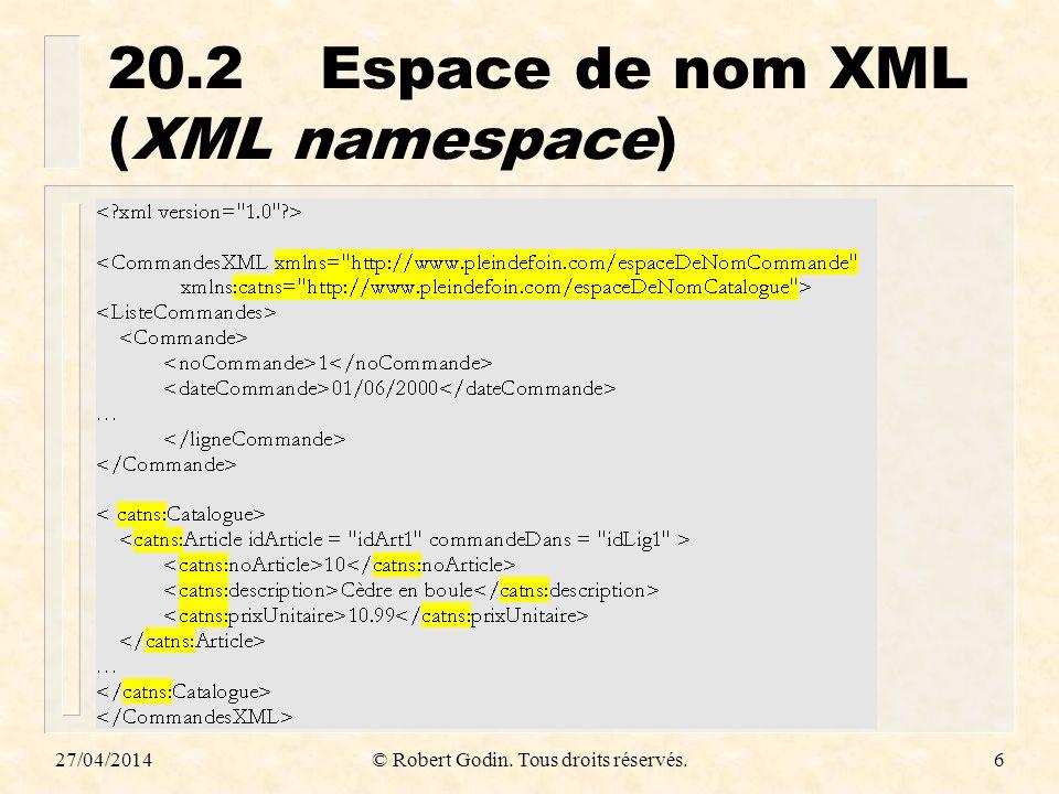 20.2 Espace de nom XML (XML namespace)