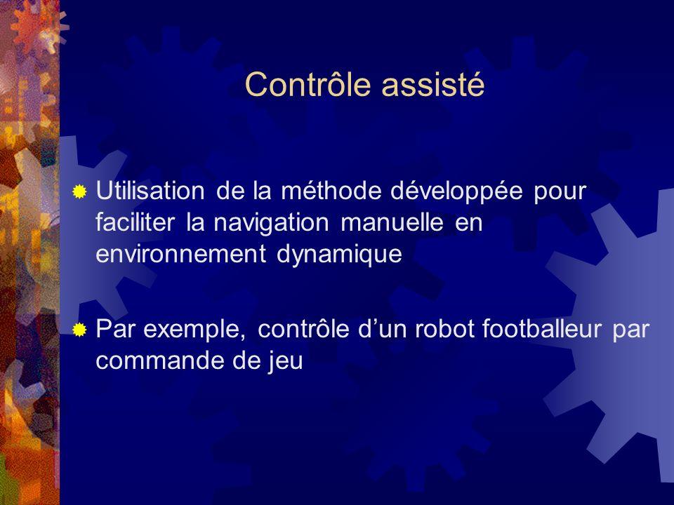 Contrôle assisté Utilisation de la méthode développée pour faciliter la navigation manuelle en environnement dynamique.