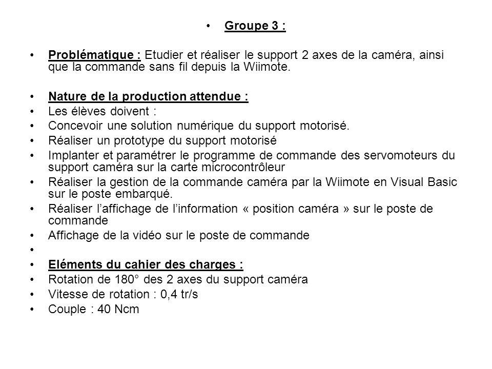 Groupe 3 : Problématique : Etudier et réaliser le support 2 axes de la caméra, ainsi que la commande sans fil depuis la Wiimote.