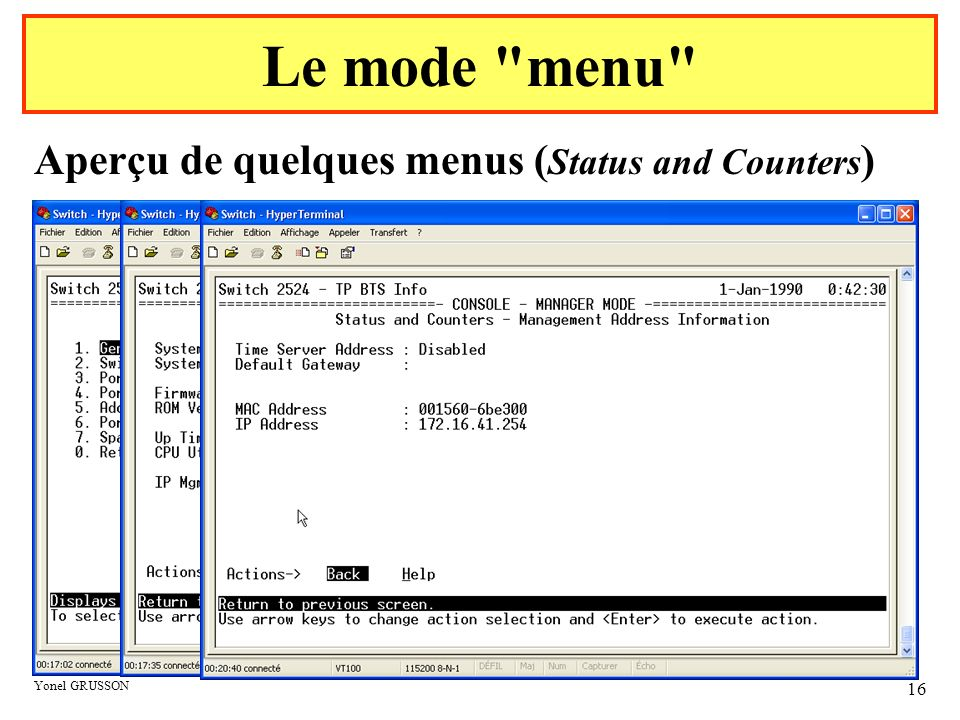 Le mode menu Aperçu de quelques menus (Status and Counters)