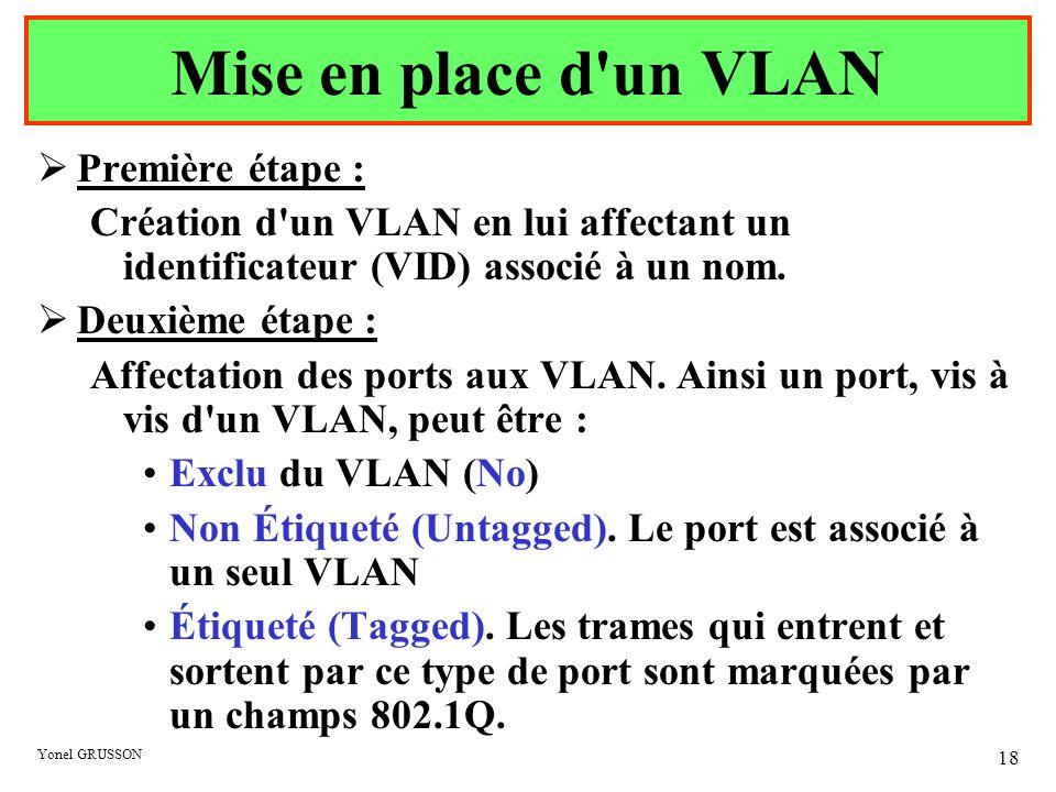 Mise en place d un VLAN Première étape :