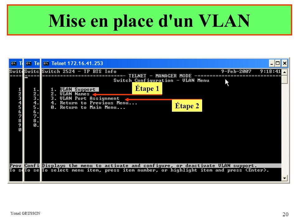 Mise en place d un VLAN Étape 1 Étape 2 Yonel GRUSSON