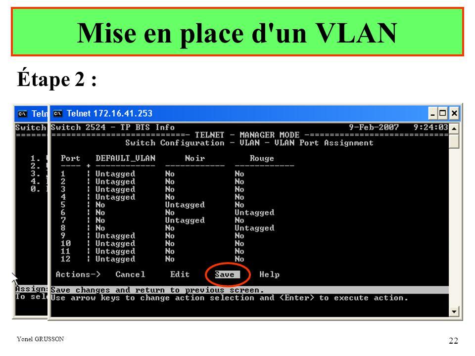 Mise en place d un VLAN Étape 2 : Yonel GRUSSON